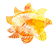 Symbol Bright Yellow Sun And P...