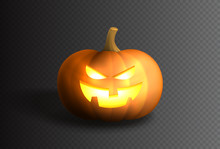 Smiling Spooky Pumpkin Template. Design Of Pumpkin With Bright Smile For Halloween Design Isolated On Checkered Background. Vector Illustration.