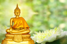 Buddha Statue With Abstract Green Bokeh Nature Background And Copy Space