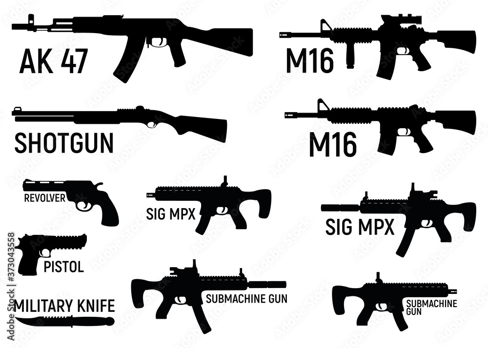 Fototapeta Set of silhouette weapon military rifle, revolver and pistol, shotgun carbine, knife and submachine gun black simple icon vector illustration, isolated of white.