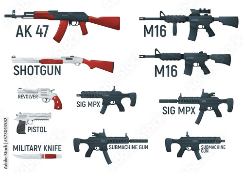 Fotografiet Set of weapon military rifle, revolver and pistol, shotgun carbine, knife and submachine gun cartoon icon vector illustration, isolated of white