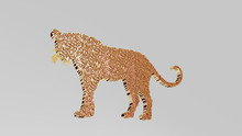 Big Cat From A Perspective On The Wall A Thick Sculpture Made Of Metallic Materials Of 3D Rendering, 3D Illustration