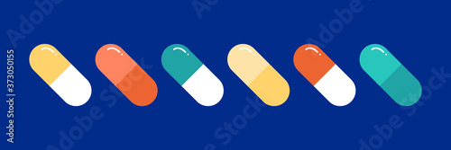 Colorful pills, medications, capsule vitamin icons set, collection Fototapeta