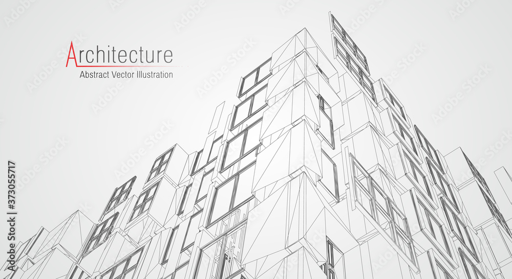 Fototapeta Architecture line background. Building construction sketch vector abstract. Modern city 3d project. Technology geometric grid. Wire blueprint house. Digital architect innovation wireframe.