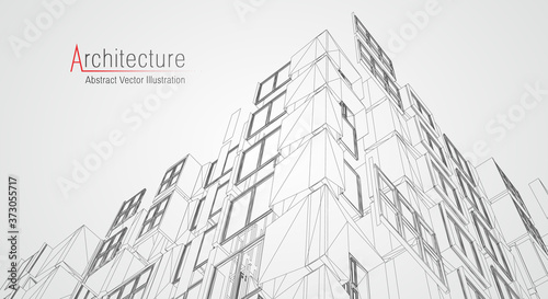 Obraz Architecture line background. Building construction sketch vector abstract. Modern city 3d project. Technology geometric grid. Wire blueprint house. Digital architect innovation wireframe. - fototapety do salonu