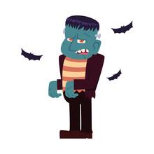 Halloween Frankenstein Cartoon Vector Design
