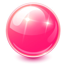 Pink Sphere 3D, Glossy And Shi...