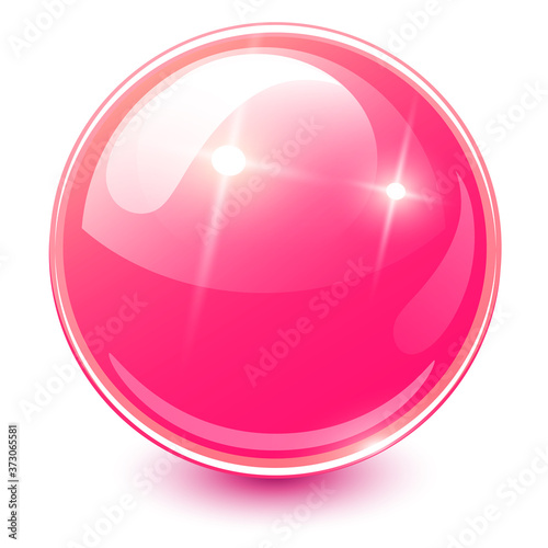 Fotomural Pink sphere 3D, glossy and shiny vector ball icon.