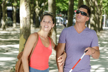 Man And Blind Man With Girlfriend In Love