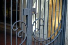 Detail Of A Wrought Iron Gate For Shop