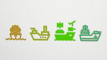 CRUISER 4 Icons Set, 3D Illustration