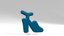 Footwear Open Heels 3D Icon Casting Shadow, 3D Illustration