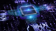 Futuristic Neon Microprocessor On Blue Background. Microchip For Data Exchange.