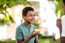 Two Boys Are Eating A Lemon On A Beautiful Sunny Day In Nature, One Of Them Smiling