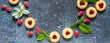 Raspberry Cookies, Berries, Leaves, copy space