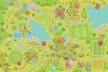 Amusement Park Map. (Top View) Attractions, Paths, Lake, River, Plants, Playground. (View From Above)