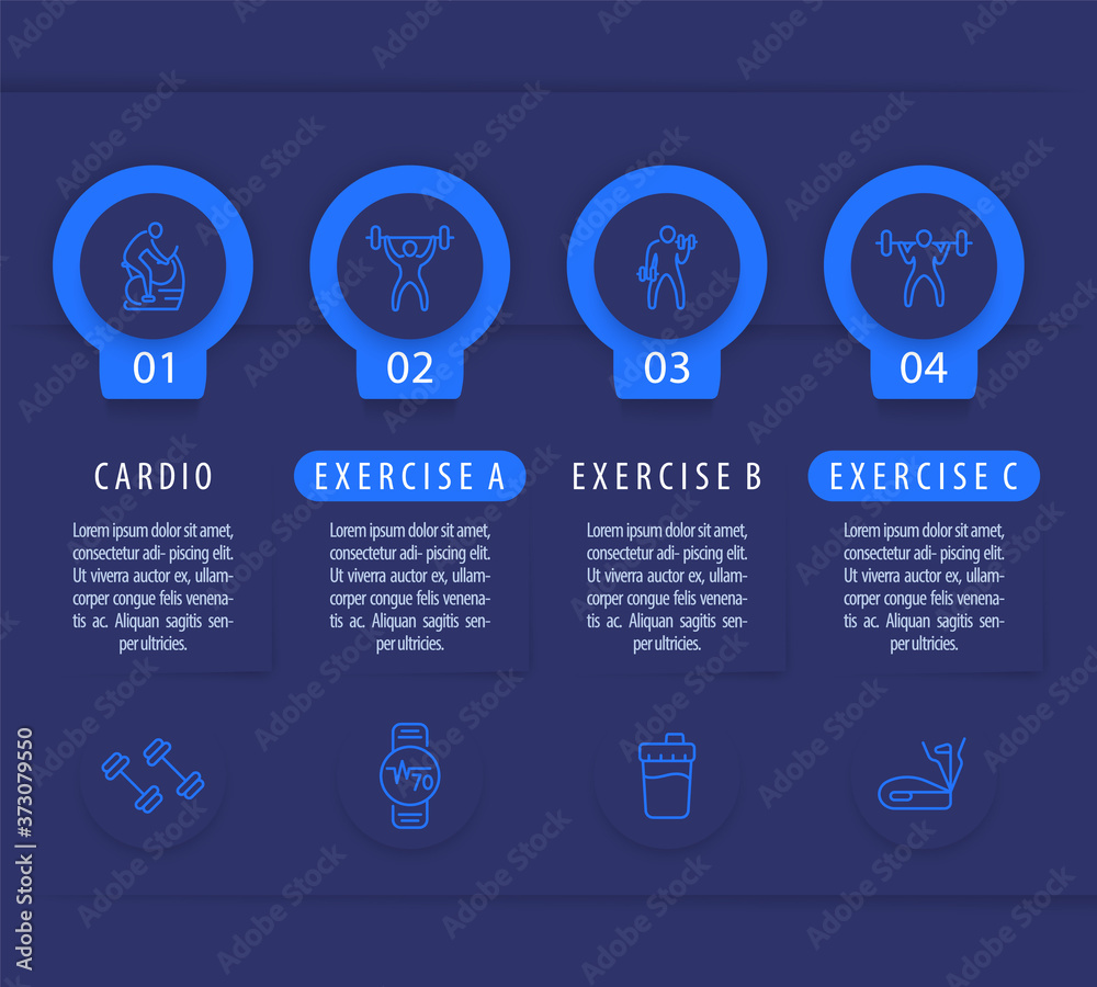 Fototapeta Gym training and workout, 4 steps infographic template, with line fitness icons