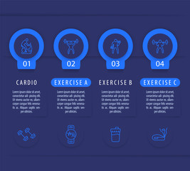 Gym training and workout, 4 steps infographic template, with line fitness icons