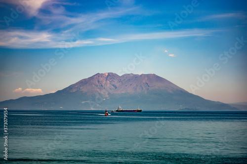 Fotografering 桜島と海と空と雲の美しい夏の風景