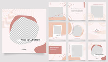 Social Media Template Banner Fashion Sale Promotion. Fully Editable Instagram And Facebook Square Post Frame Puzzle Organic Sale Poster.