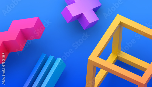 Abstract 3d render, modern background with geometric shapes, graphic design