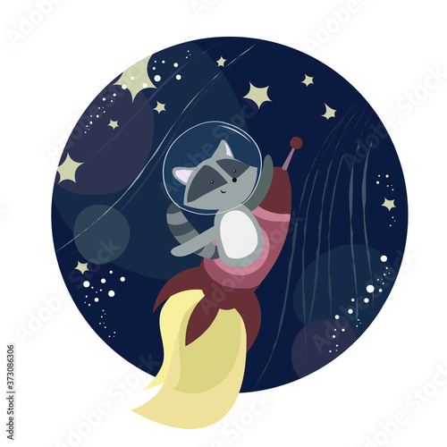 Vector illustration in a kind childish style with a cheerful cute raccoon flying in a rocket in space Wallpaper Mural