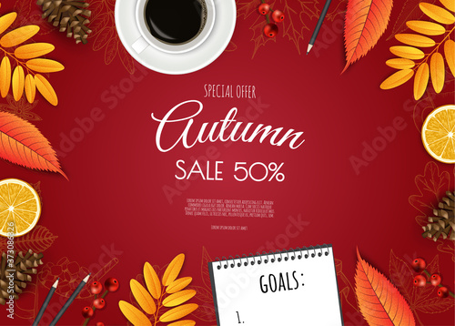 Leinwand Poster Autumn sale flyer template