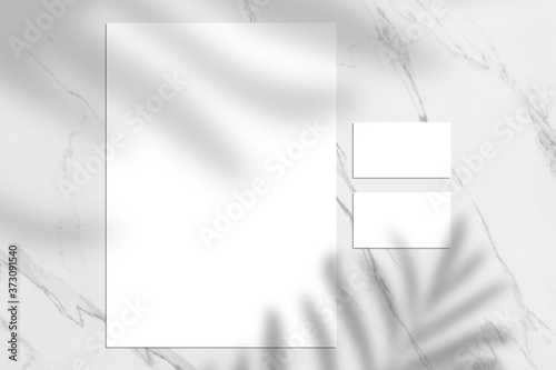 Fototapeta White empty business card and letterhead mock up, Shadow overlay, stationery mockup, add your design + multiply effect obraz
