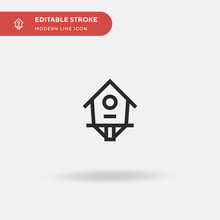 Birdhouse Simple Vector Icon. Illustration Symbol Design Template For Web Mobile UI Element. Perfect Color Modern Pictogram On Editable Stroke. Birdhouse Icons For Your Business Project