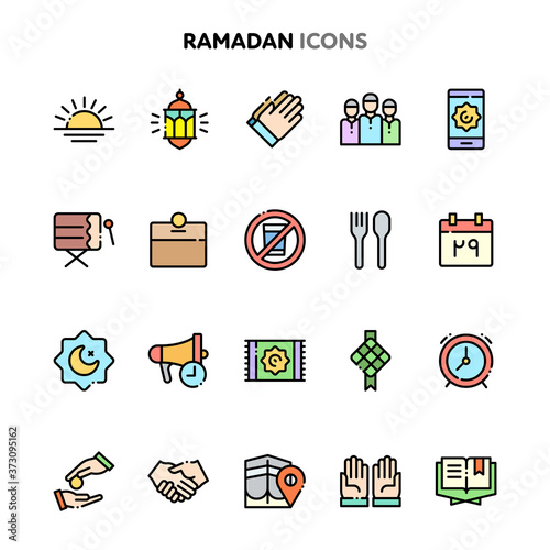 Ramadan Icon Set. Linelo Color Series. Wallpaper Mural