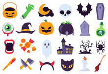 Halloween Icons. Holiday Symbols, Moon And Spider, Pumpkin, Ghost And Bat. Candy, Skull And Gravestone, Candle, Broom Flat Vector Set. Spooky Decoration For Horror Event As Knife, Bat With Blood