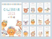 Tribal Animal Calendar. Monthly 2021 Calendar With Cute Forest Animals, Savanna Characters. Bear, Fox And Lion, Rabbit, Giraffe Vector Image. Characters With Feathers And Flowers On Head