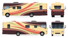 Recreational Vehicle Vector Mockup On White For Vehicle Branding, Corporate Identity. View From Side, Front, Back. All Elements In The Groups On Separate Layers For Easy Editing And Recolor.