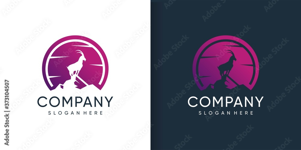 Fototapeta Goat logo standing in the mountain with silhoutte concept Premium Vector