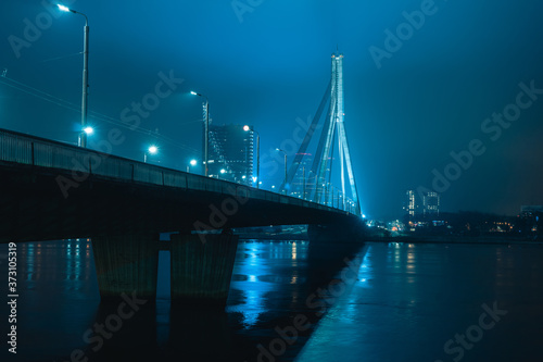 Obraz na plátně Vansu Bridge across Daugava or Dvina river