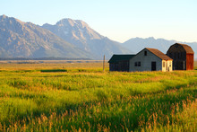 Sunrise Over Mormon Row In Grand Teton National Park With The Mountains In The Background In Wyoming, United States