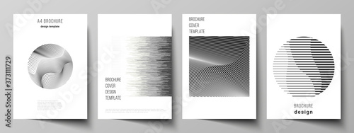 Fotografiet Vector layout of A4 format modern cover mockups design templates for brochure, flyer, booklet, report