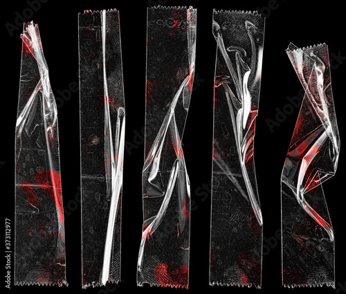Fotomural set of transparent adhesive tape or strips isolated on black background with blood remain, crumpled plastic sticky snips, crime poster design overlays or elements