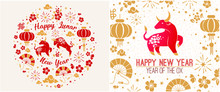 Happy Chinese New Year 2021 Zodiac Sign, Year Of The Ox, Red And Gold Paper Cut Ox Character, Flower And Asian Elements With Craft Style On Background, Christmas Taming For Asian New Year, Greeting Ca
