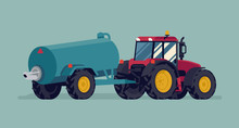 Modern Four Wheel Drive Tractor With Slurry Tank. Field Fertilizing, Liquid Manure And Muck Spreading Process Vector Flat Style Illustration. Agriculture And Farming Machinery