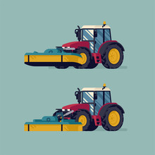 Modern Four Wheel Drive Tractor With Front Mower Attachment In Lifted And Operating Positions. Grass Field Mowing Process Vector Flat Style Illustration. Agriculture And Farming Concept Design
