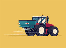 Modern Four Wheel Drive Tractor With Centrifuge Fertilizer Spreader Or Broadcast Spreader Attachment. Field Seeding Or Fertilizing Process Vector Flat Style Illustration. Agriculture And Farming