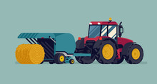 Modern Four Wheel Drive Tractor Pulling Round Baler With Hay Bale Rolling Out. Baling Process Vector Flat Style Illustration. Agriculture And Farming Concept Design