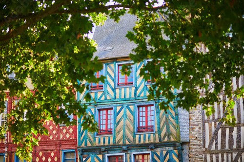 Foto Beautiful half-timbered buildings in medieval town of Rennes, France