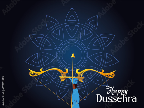 lord ram arm with bow and arrow in front of blue mandala vector design Fototapet