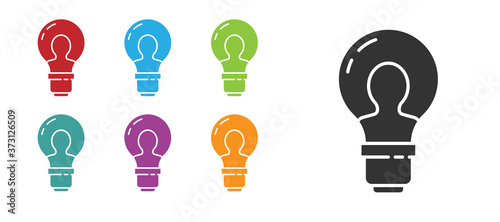 Black Human head with lamp bulb icon isolated on white background Canvas Print