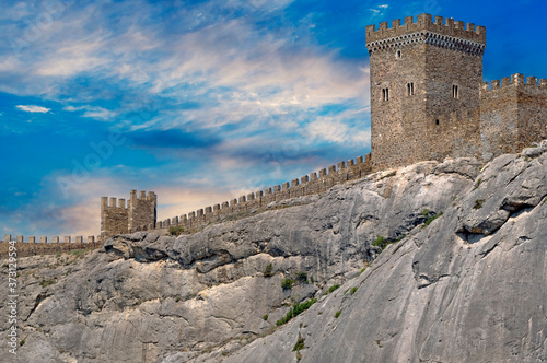 ancient historic Genoese castle or fortress Canvas Print