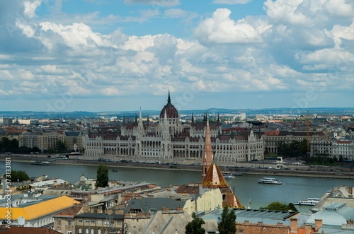 Obraz na plátně Panorama of budapest with hungrian parliament