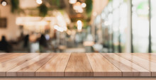 Empty Wooden Table With Blurre...