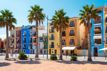 Colorful Painted Houses At The Seaside In Beachside Town Villajoyosa, Costa Blanca, Spain